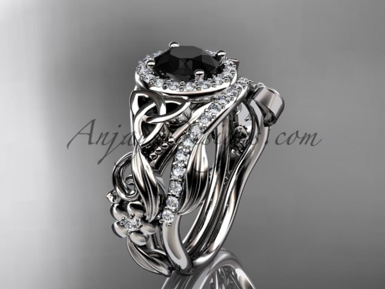 Black Diamond Celtic Wedding Ring Sets Platinum Ring CT7300S
