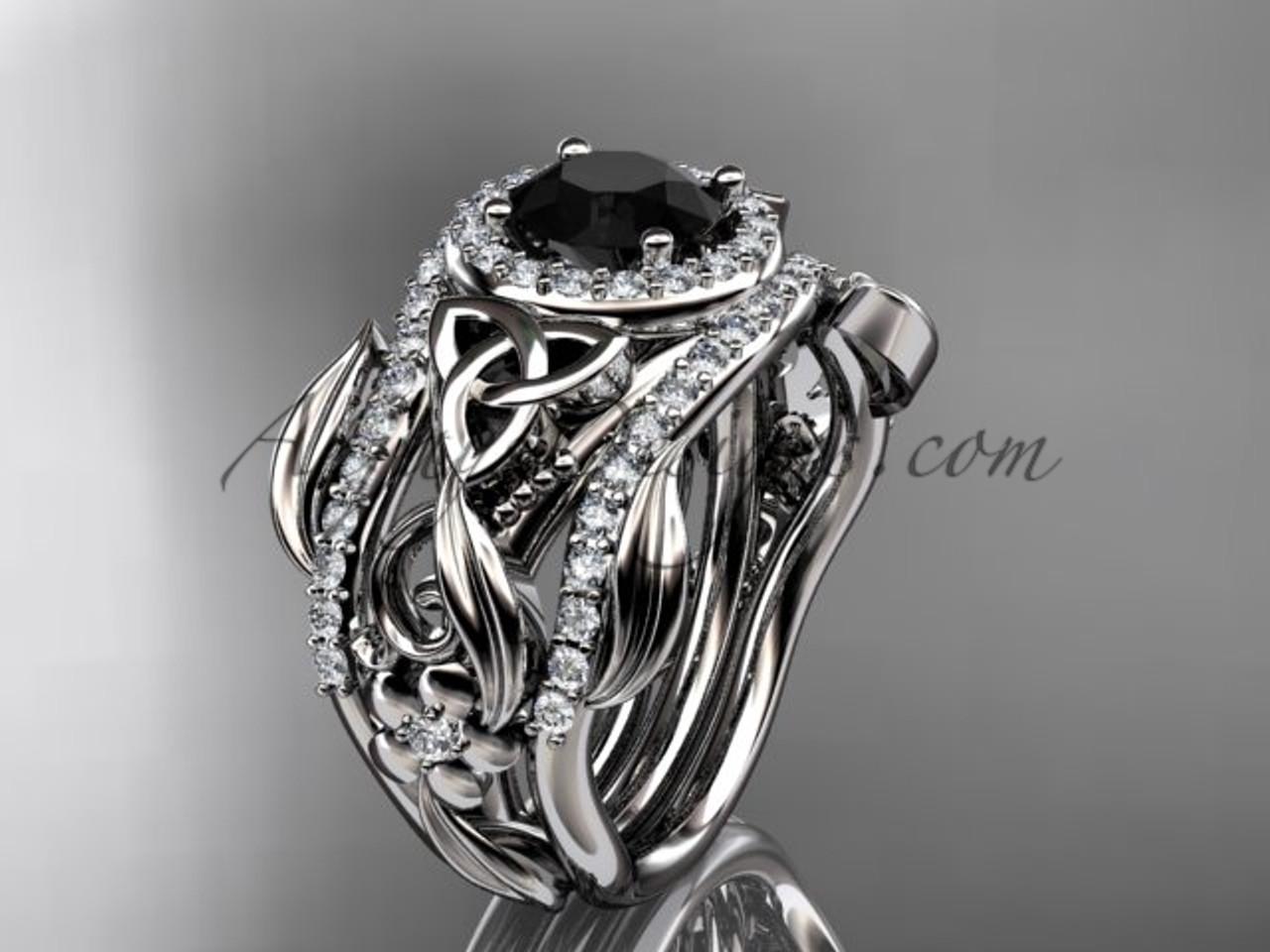 Double Band Black Diamond Ring Platinum Ring Ct7300s