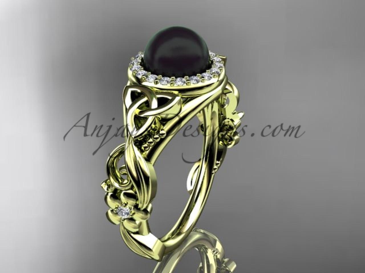 Halo Black Pearl Wedding Rings Yellow Gold Engagement Ring Ctbp7300