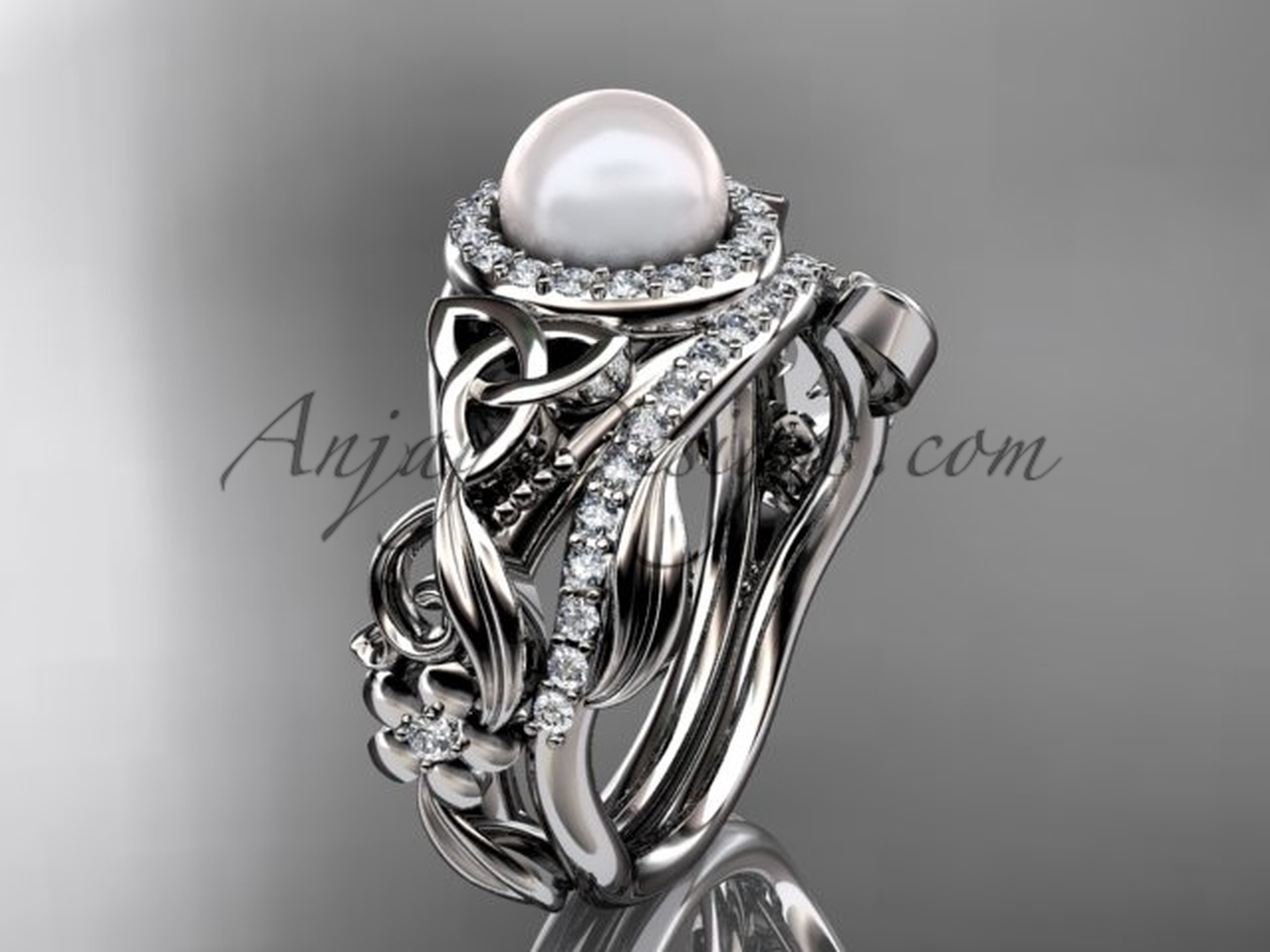 White Gold Pearl Wedding Set Triquetra Bridal Ring CTBP7300S
