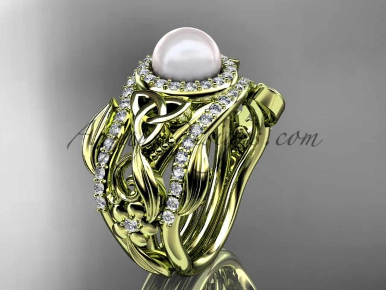 Triquetra Celtic Pearl Double Band Engagement Ring Yellow Gold Wedding Set Ctbp7300s