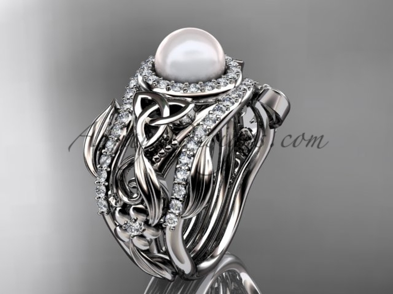 Pearl Double Band Engagement Ring Wedding Set Ctbp7300s