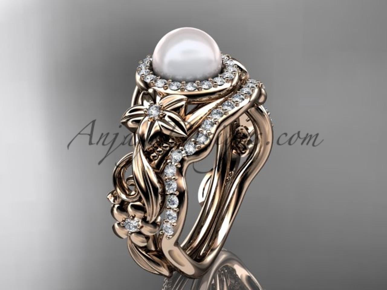 Pearl Wedding Ring Sets Rose Gold Halo Ring Ap300s