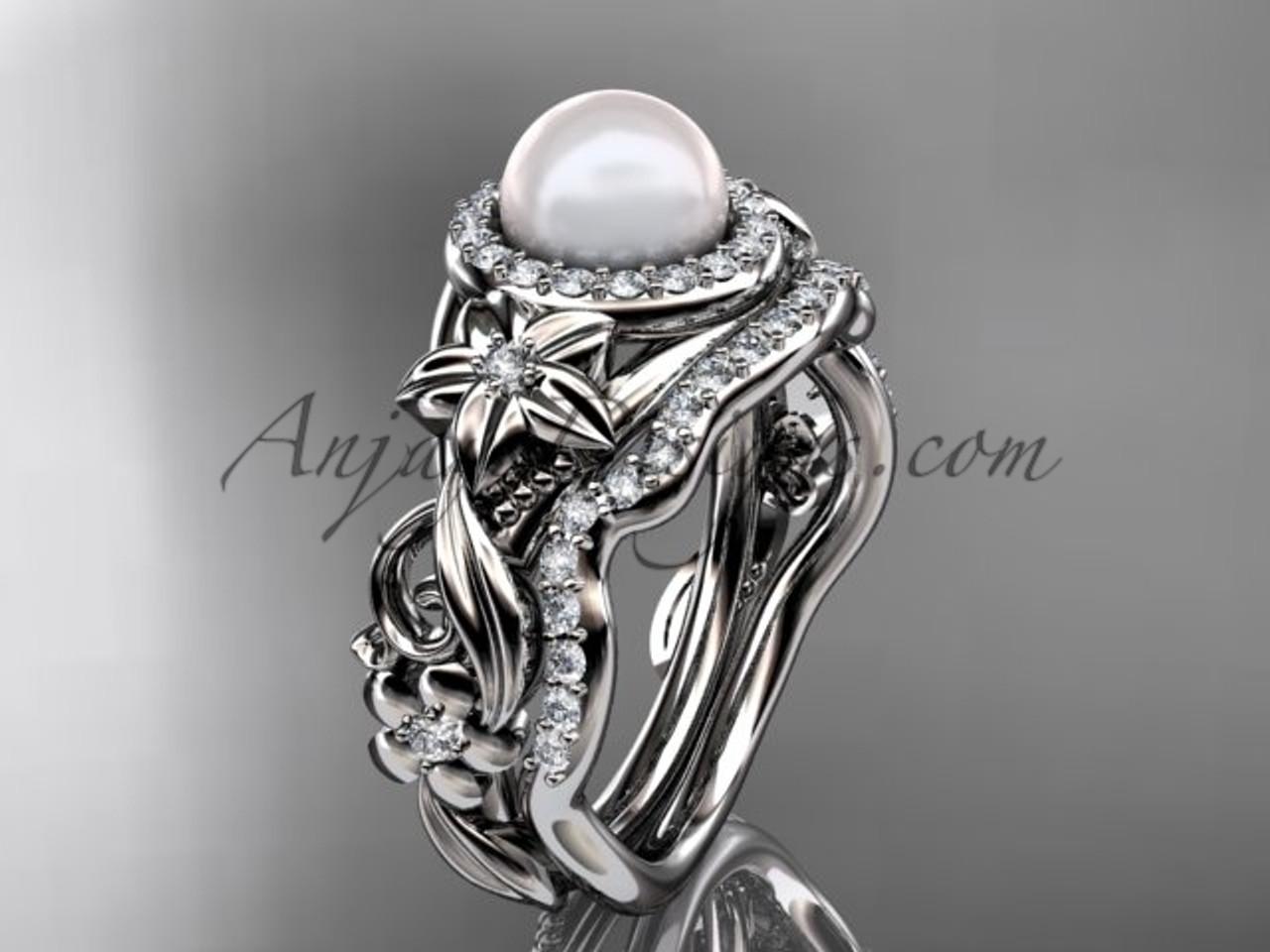 Pearl Wedding Ring Sets Platinum Halo Ring AP300S