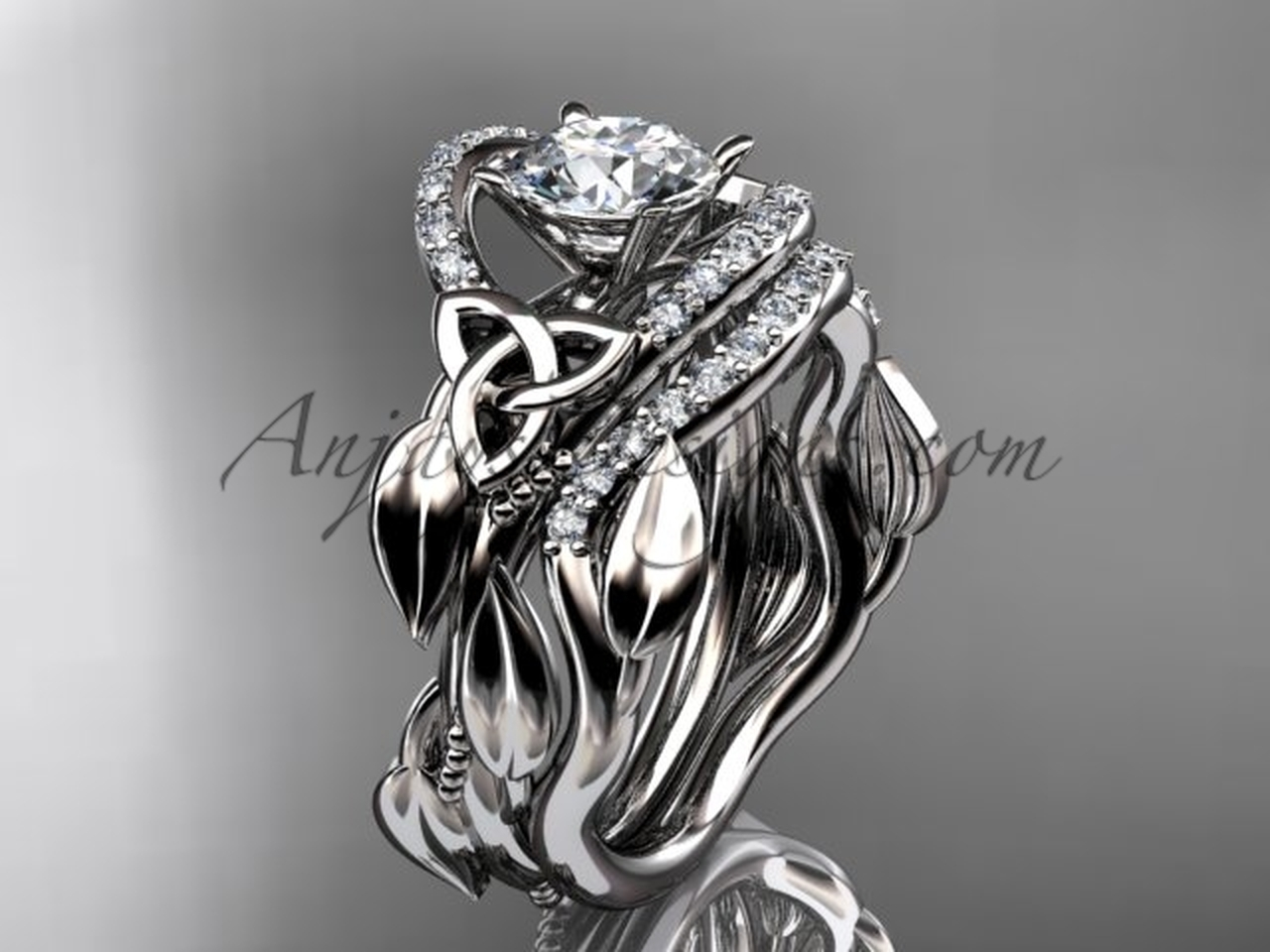 Moissanite Celtic Wedding Ring Sets Platinum Ring Ct7326s