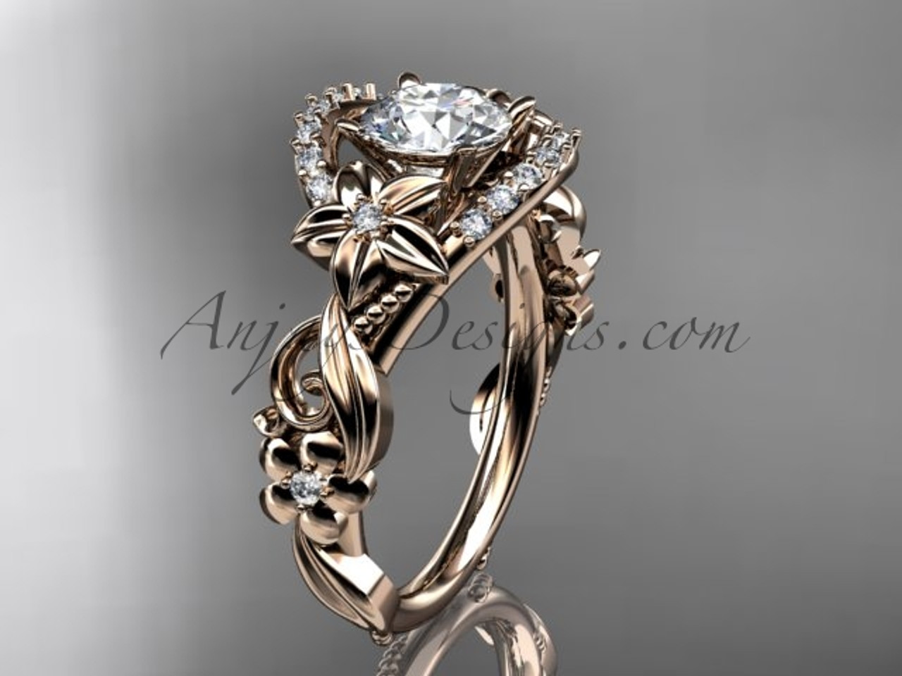 Diamond bridal rings rose gold flower wedding ring adlr211 junglespirit Image collections