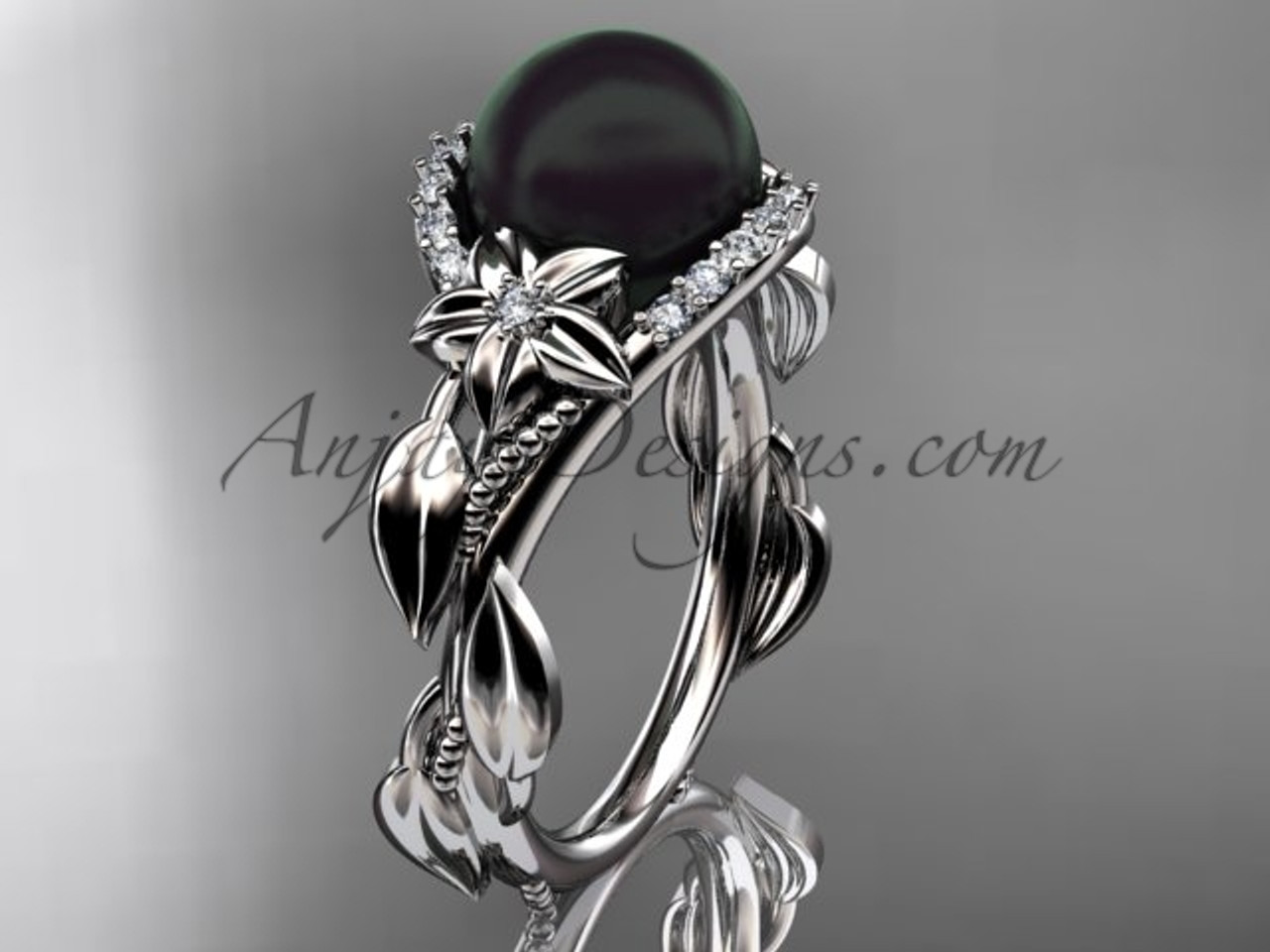 Black Pearl and Diamond Engagement Rings ABP326