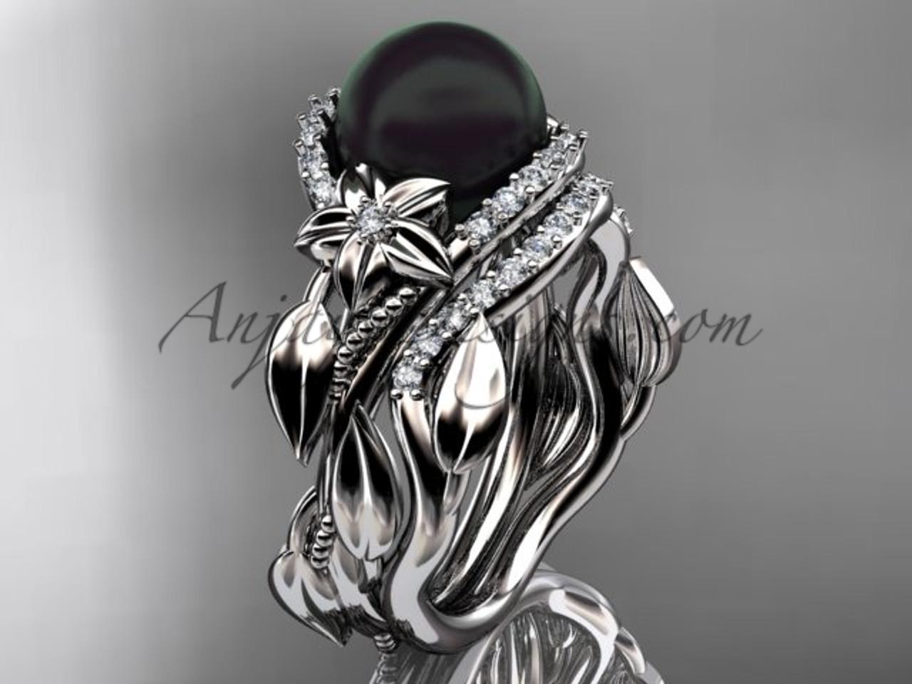 Black Pearl And Diamond Platinum Ring Sets Abp326s