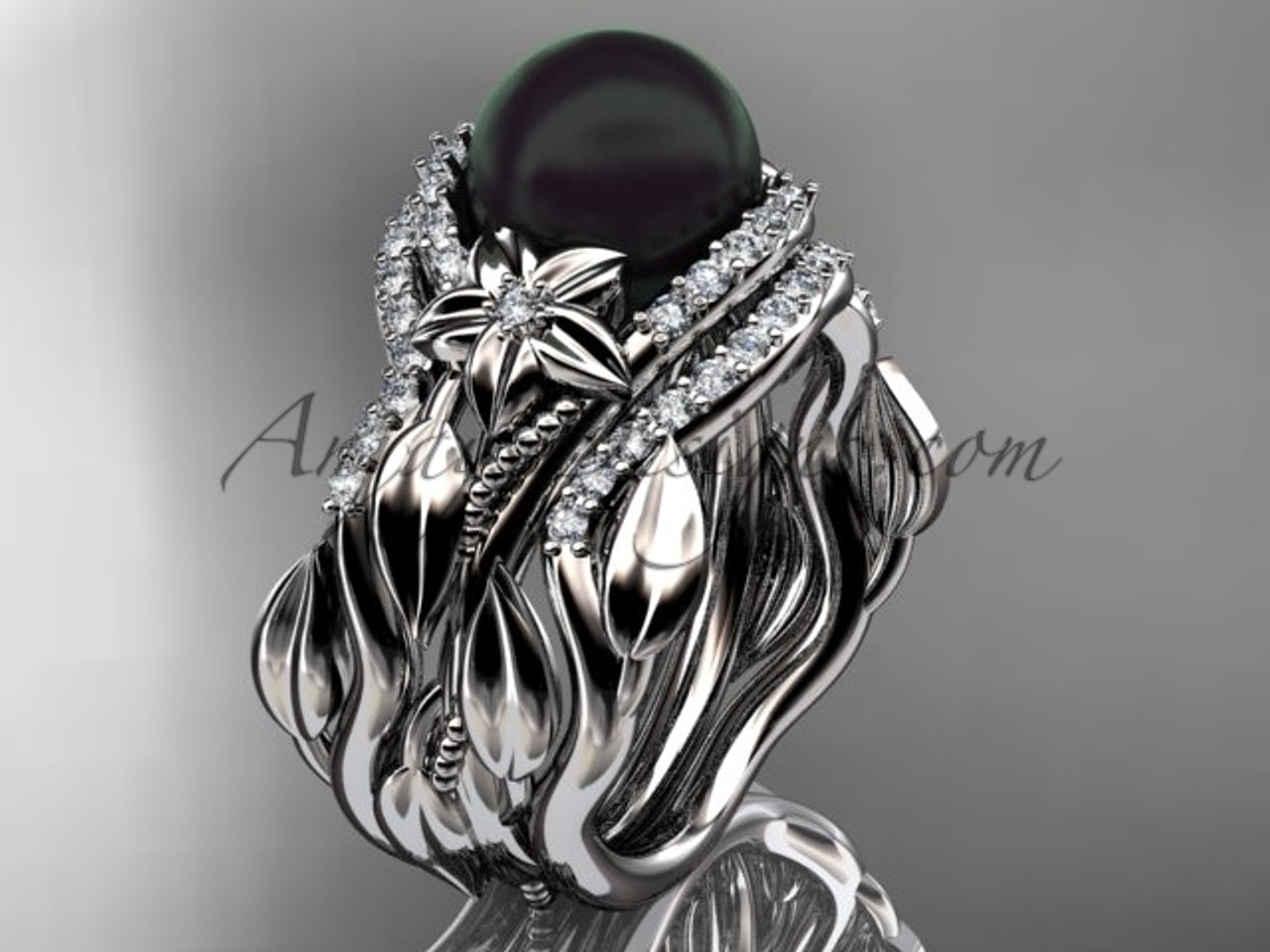 Double Band Black Pearl And Diamond Bridal Ring Set Abp326s
