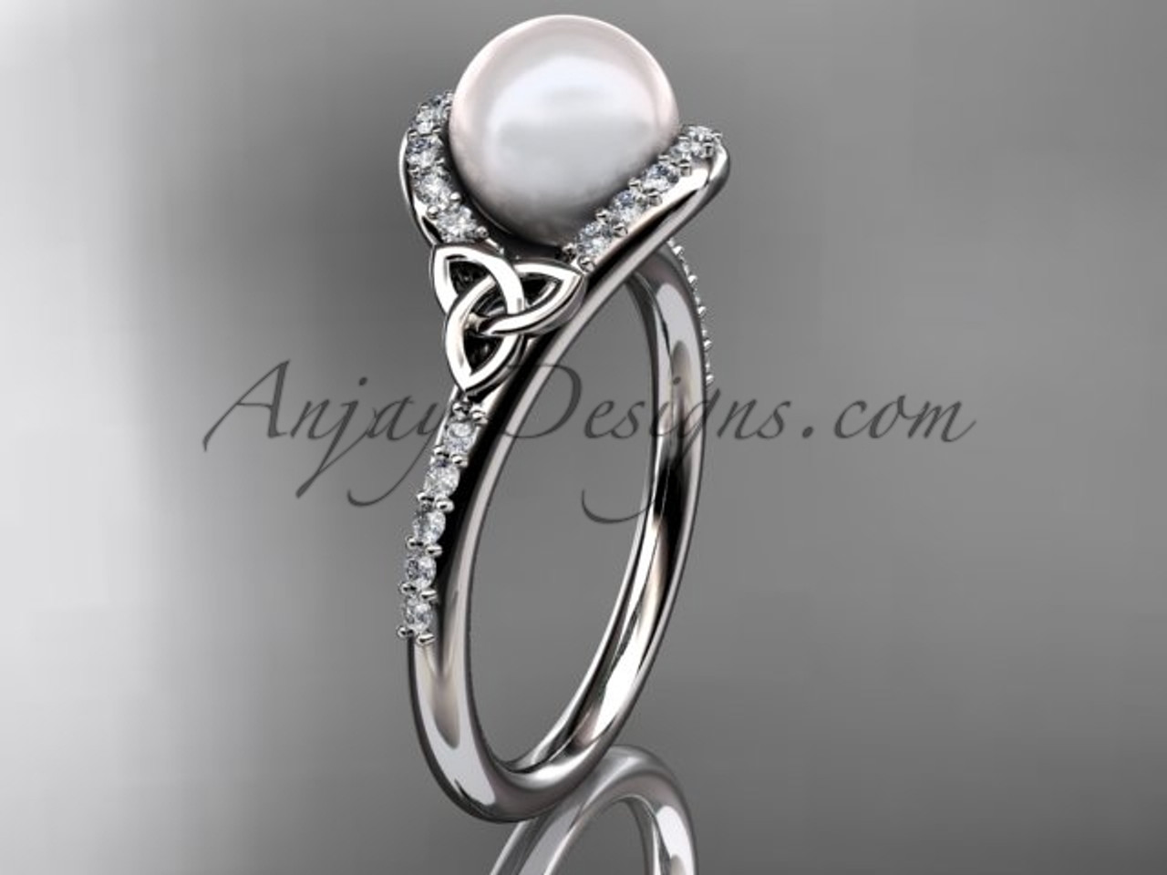 Excellent Irish Celtic Engagement Rings White Gold Pearl Ring CTP7317 RX09