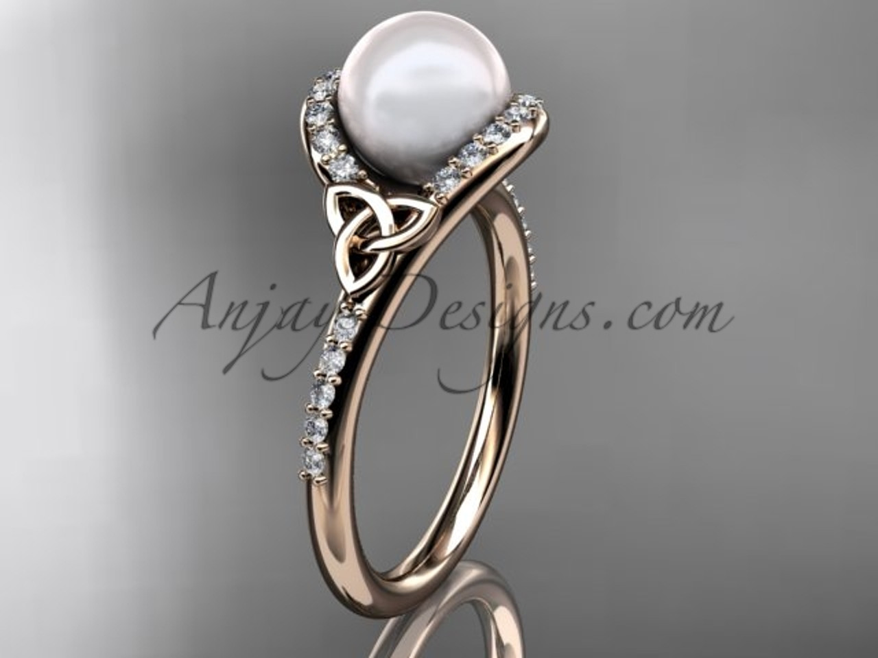 gold wedding pearl vintage three rings ring diamond engagement promise