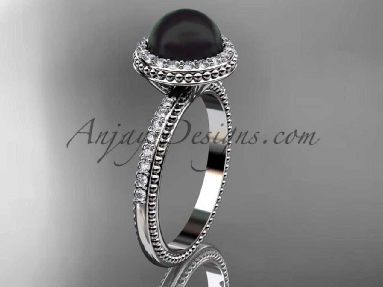 Antique Black Black Pearl Wedding Rings Platinum Ring ABP95