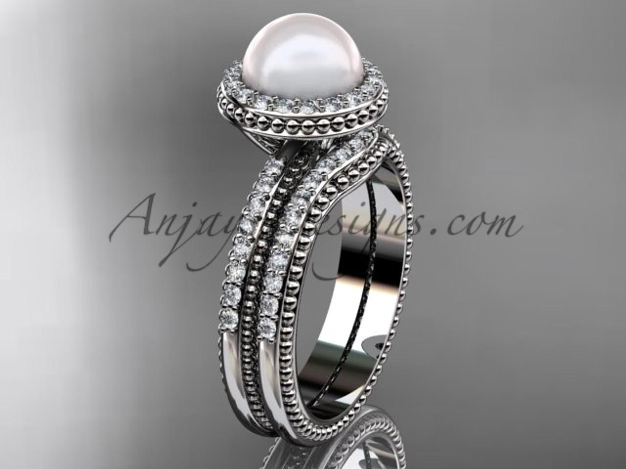 Antique Pearl Ladies Wedding Ring Sets Platinum Ring AP95S