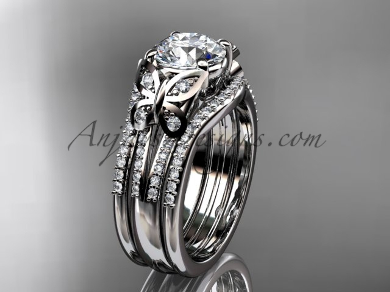 Moissanite Platinum Butterfly Engagement Ring Set ADLR514S