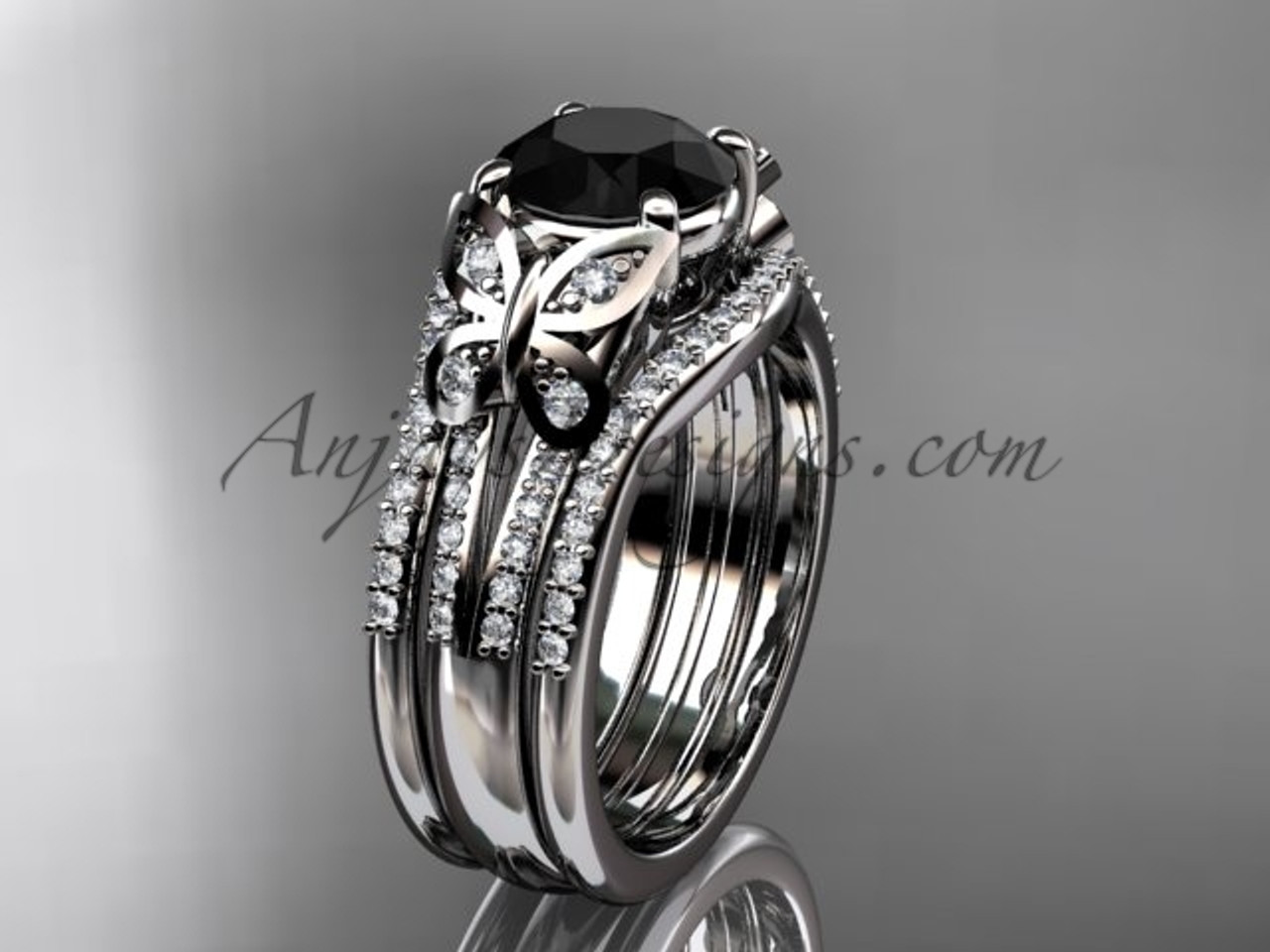 Black Diamond Platinum Butterfly Bridal Ring Set ADLR514S