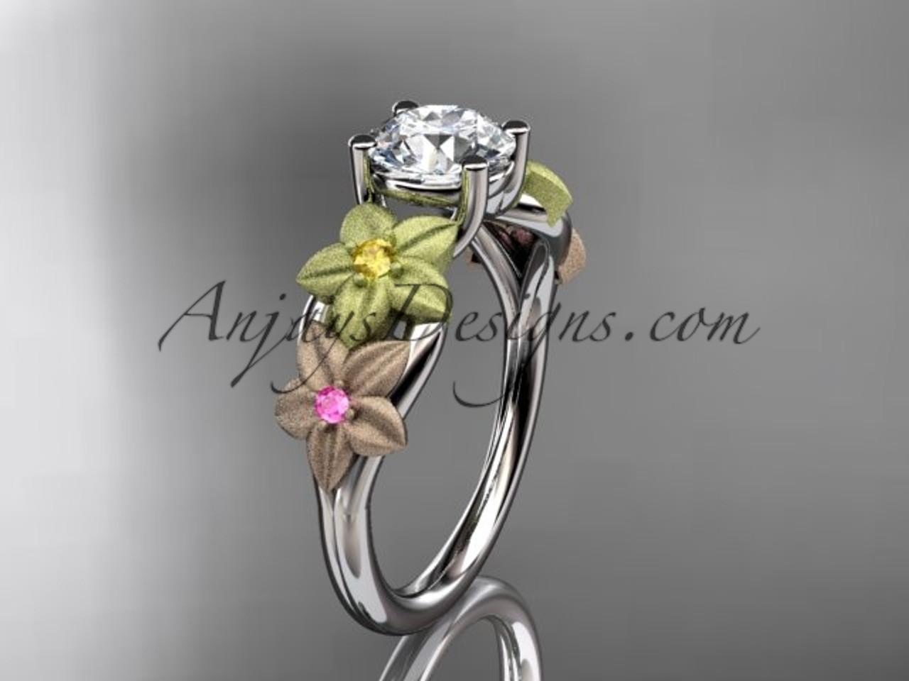 14kt tri color gold floral unique engagement ring wedding ring ADLR169
