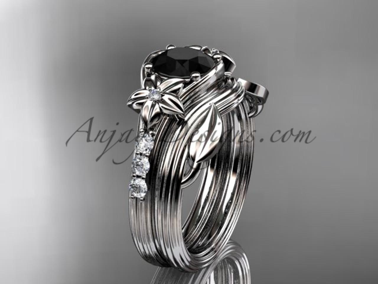 White Gold Flower Black Diamond Wedding Set ADLR333S