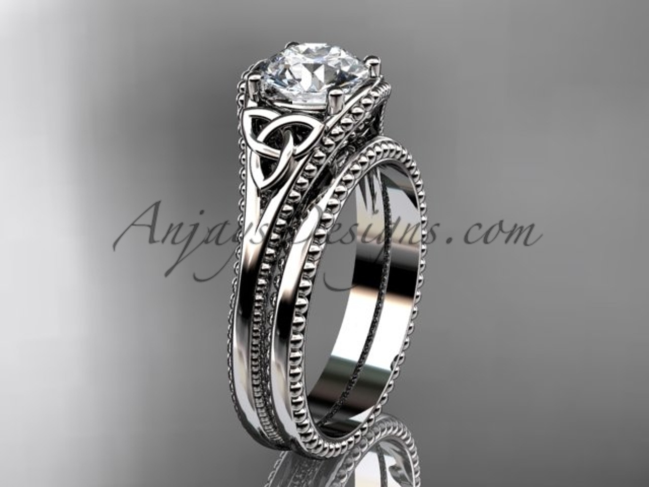 Celtic Knot Wedding Sets Platinum Ring CT7375S