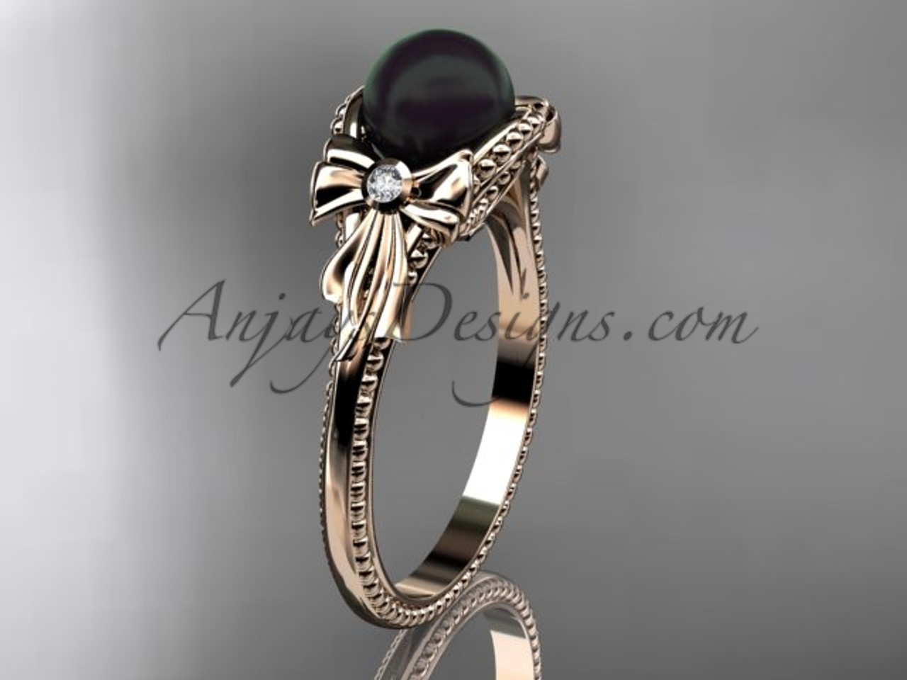 Bow Engagement Ring Rose Gold Round Tahitian Black Cultured Pearl Wedding Abp376