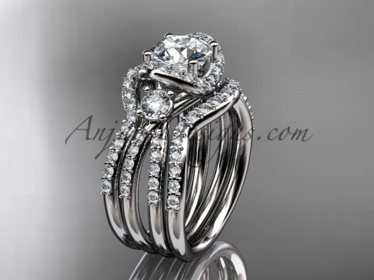 Modern double band wedding ring platinum ring ADER146S