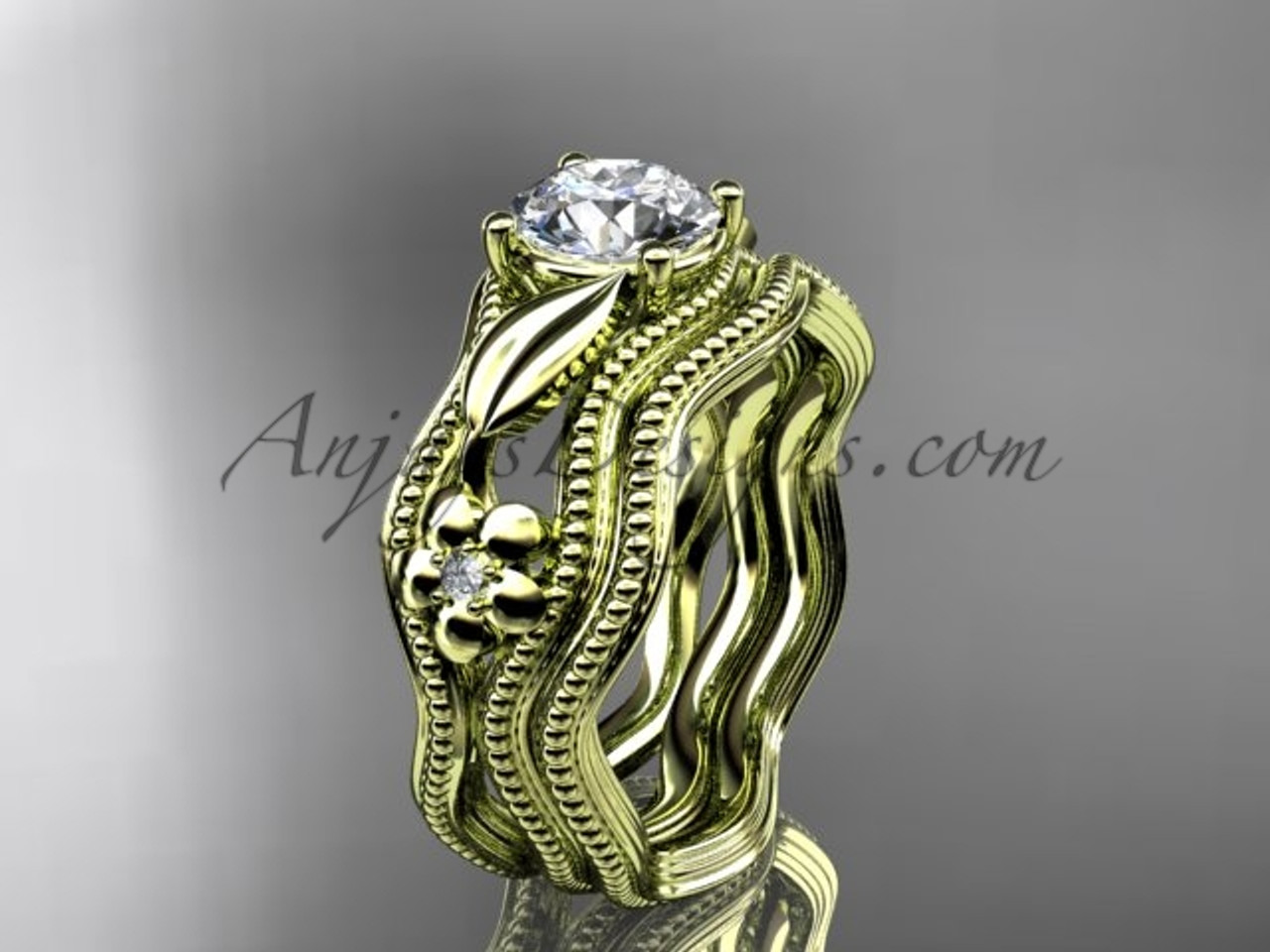 Alternative wedding set yellow gold flower ring adlr382s mightylinksfo