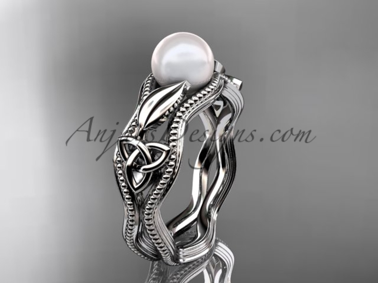 Modern pearl engagement ring platinum celtic ring ctp7382 junglespirit Gallery