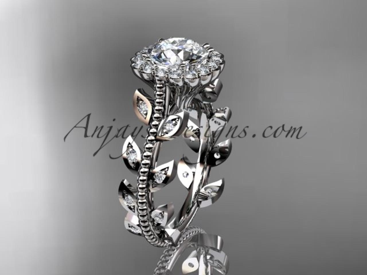 Stunning Engagement Rings Platinum Leaf Wedding Ring Adlr118