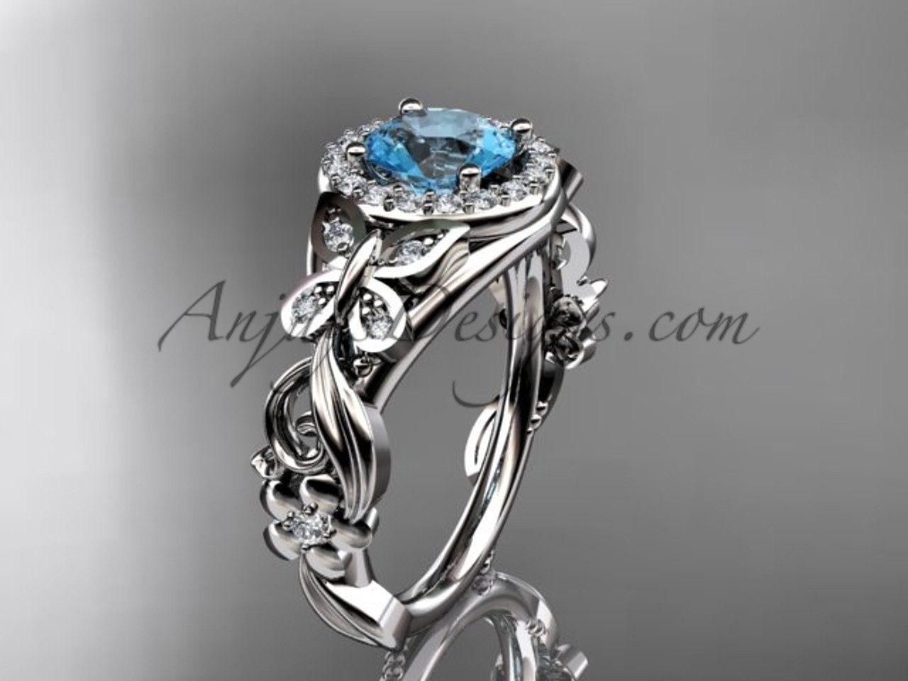Marchs Birthstone White Gold Aquamarine Rings ADAM525