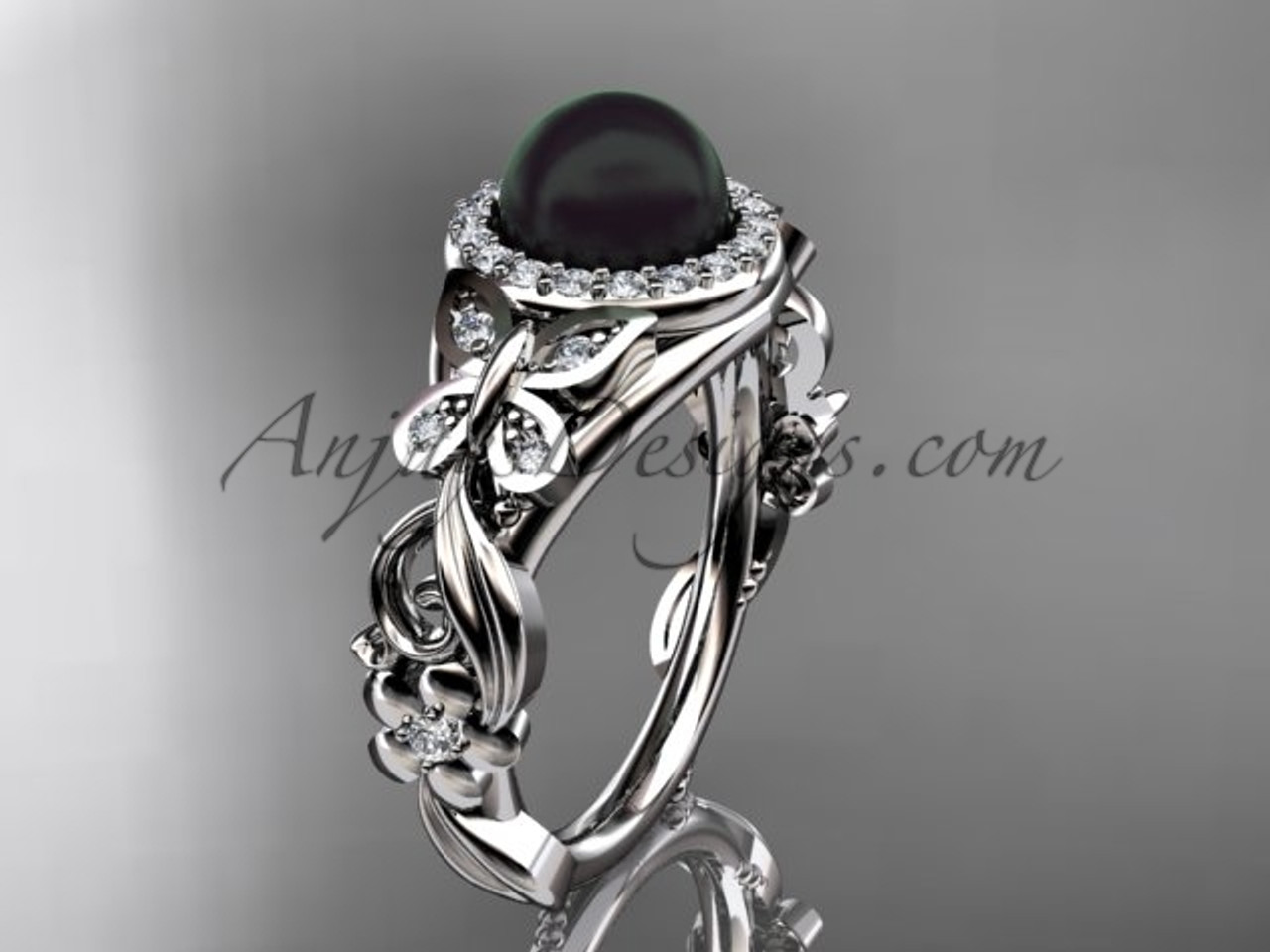 Black Pearl Wedding Rings White Gold Erfly Ring Abp525