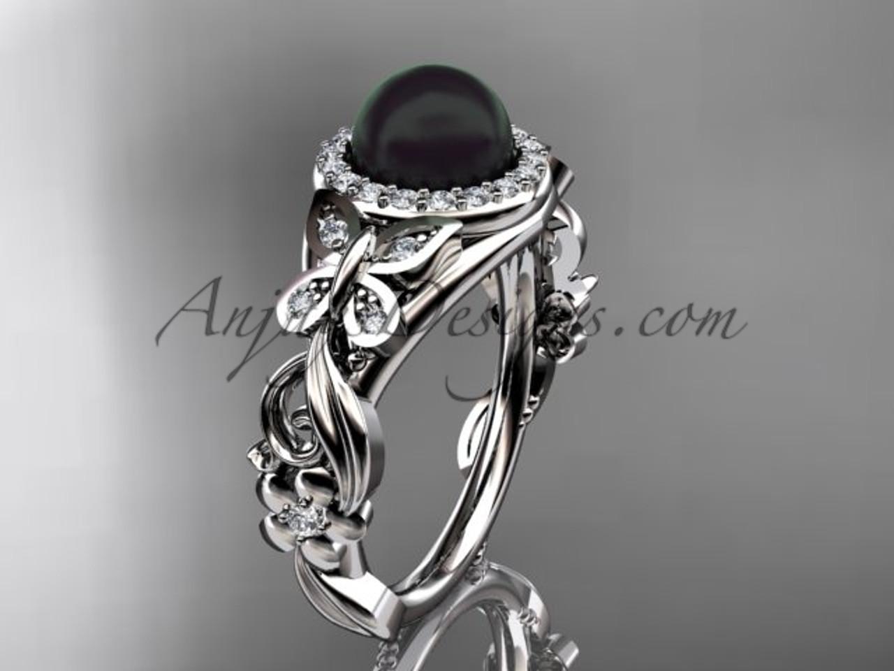 Black Pearl Wedding Rings Platinum Butterfly Ring ABP525