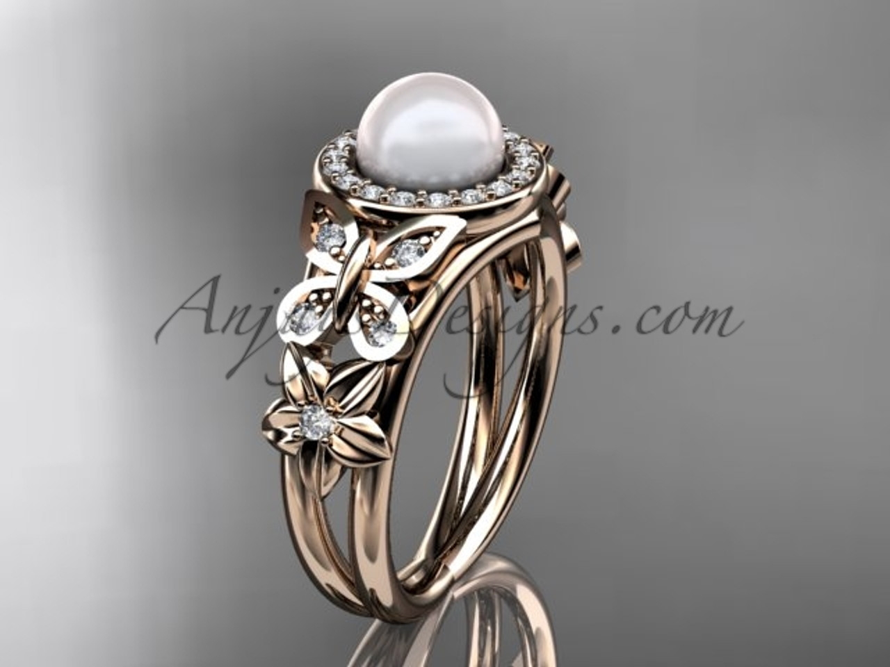 Rose Gold Butterfly Pearl & Diamond Rings Wedding Ring AP524