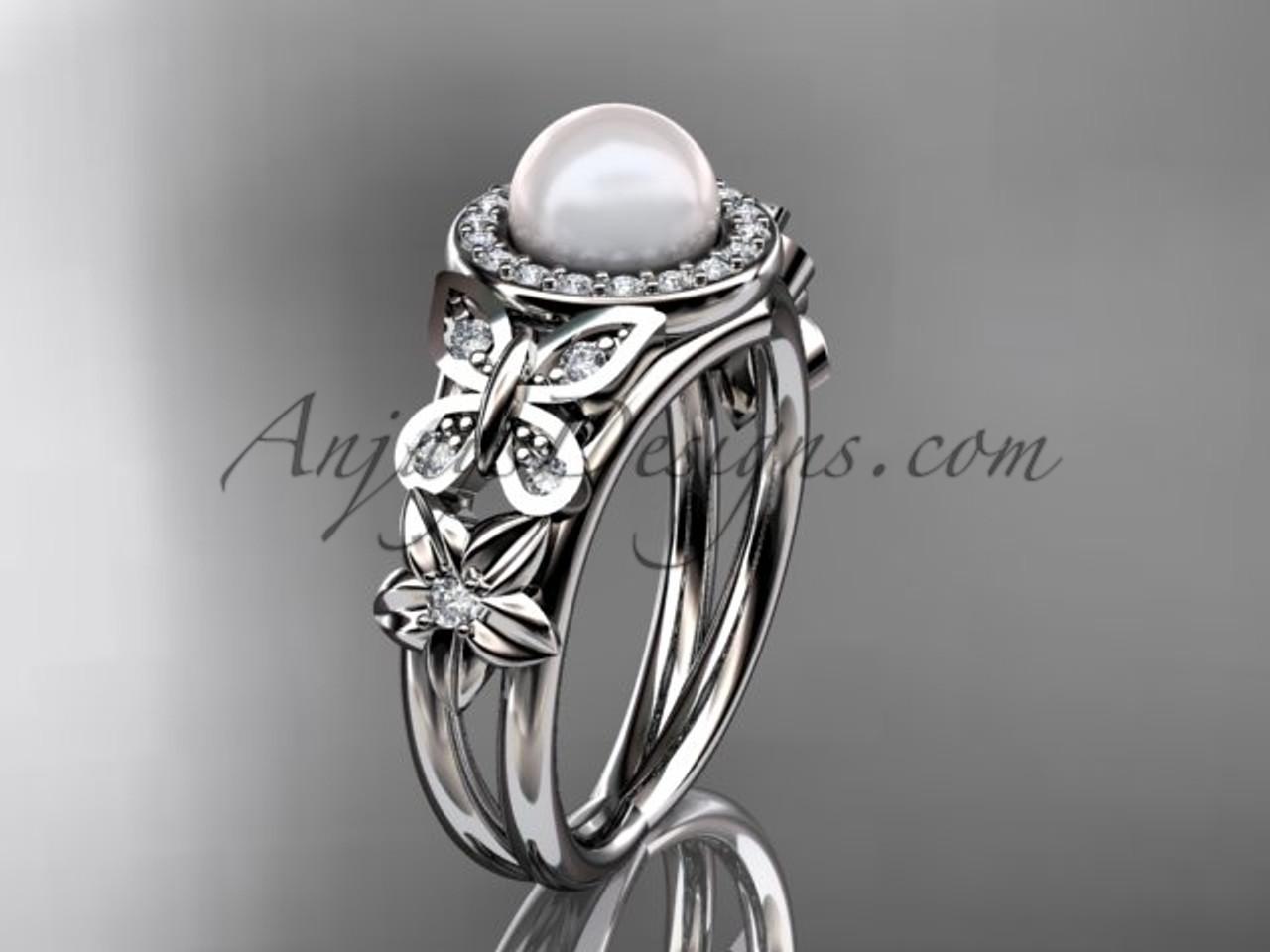 Pearl and Diamond Ring Platinum Wedding Ring AP524