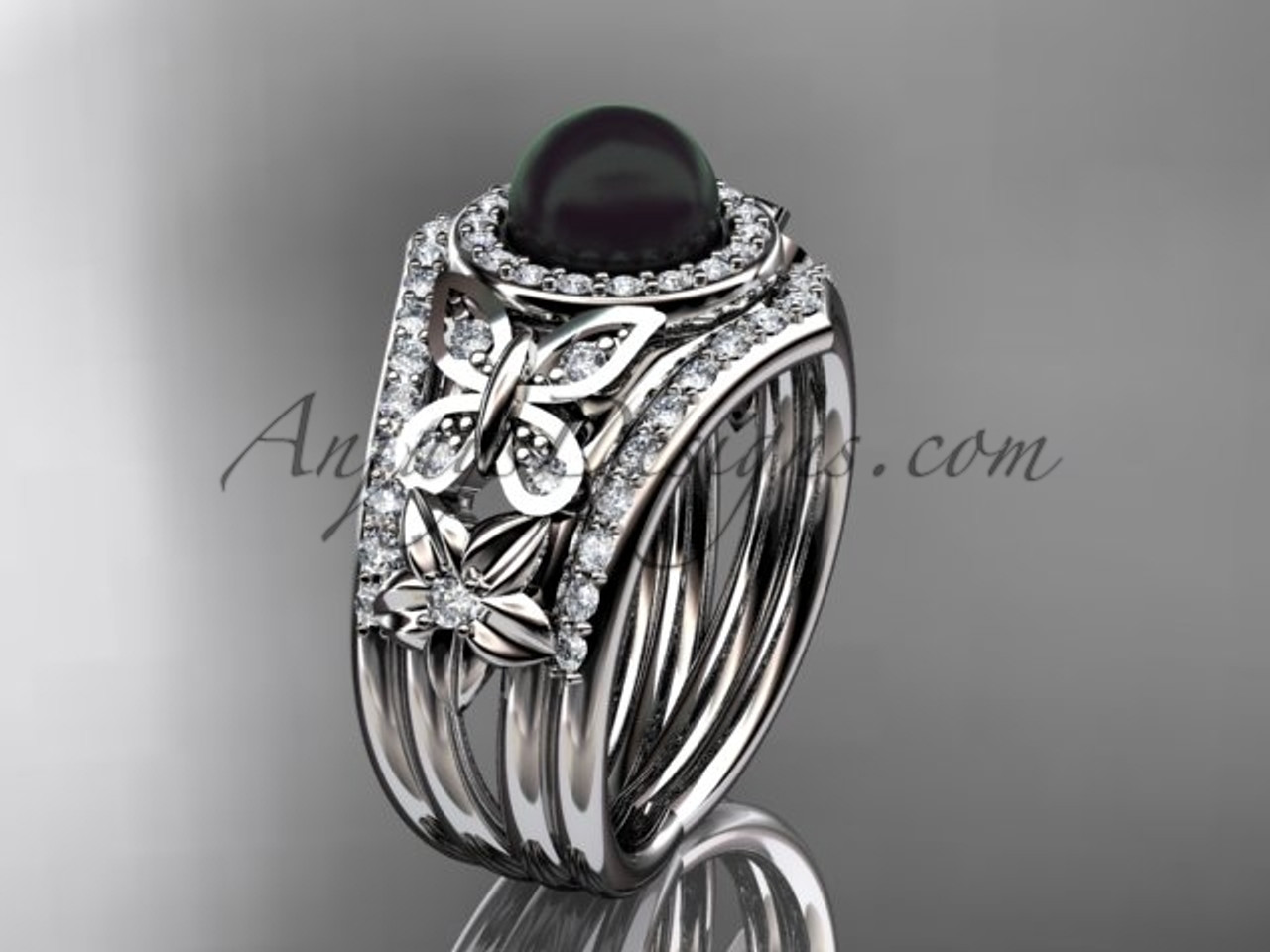 Double Band Wedding Ring Black Pearl White Gold Ring ABP524S