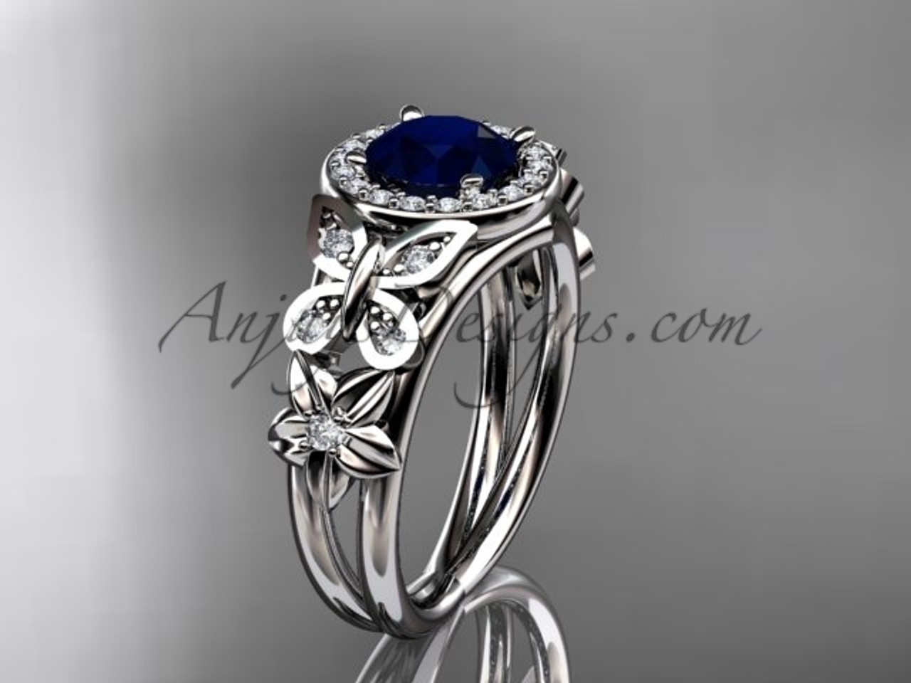 Blue Sapphire Engagement Rings White Gold Halo Ring ADBS524
