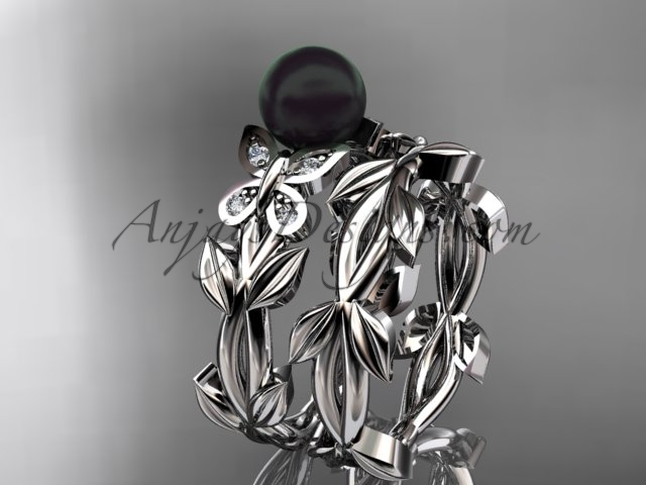 Black Pearl Bridal Set White Gold Butterfly Ring Abp526s
