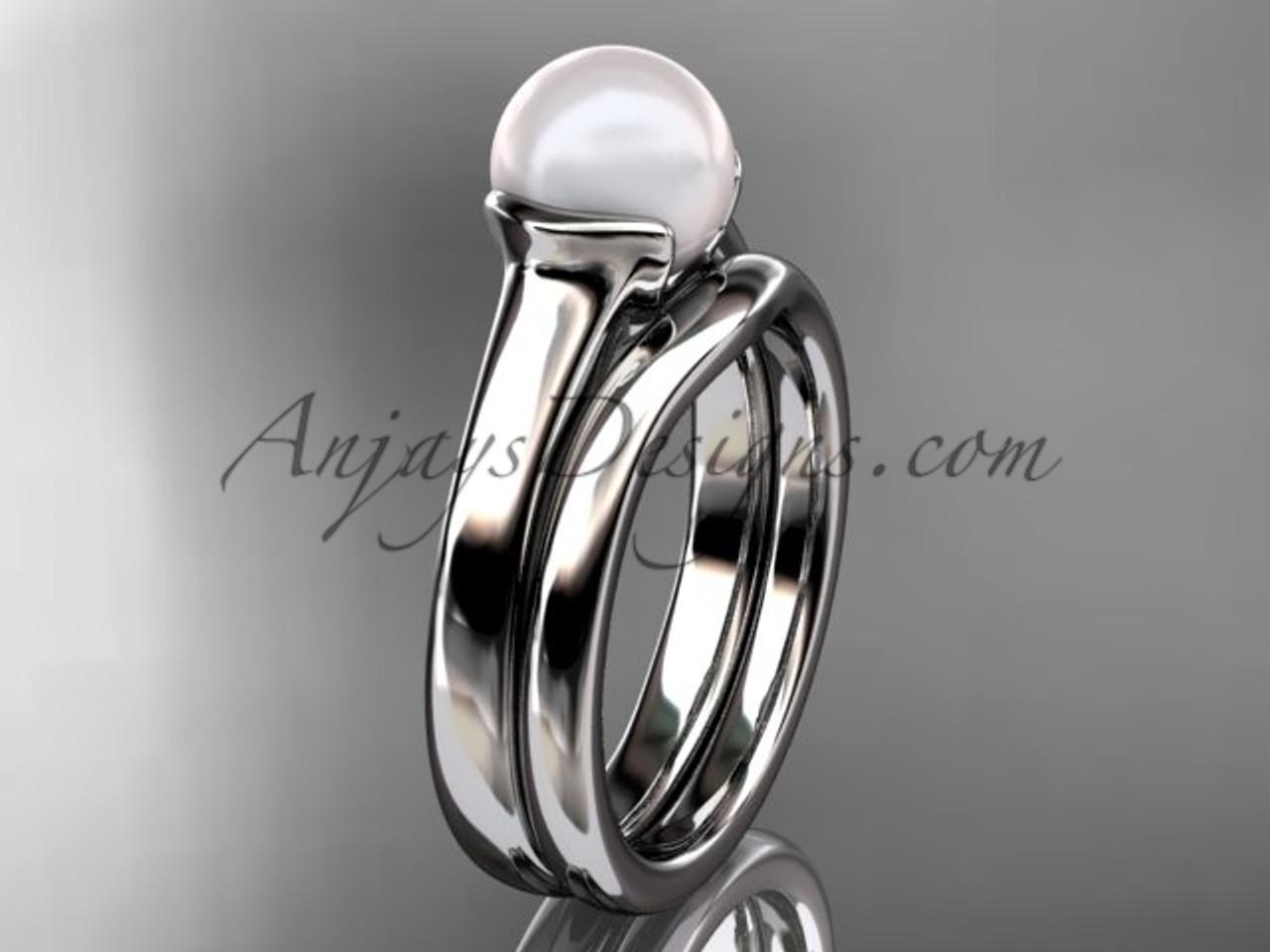 White Gold Vintage Pearl Bridal Ring Set VP10016S