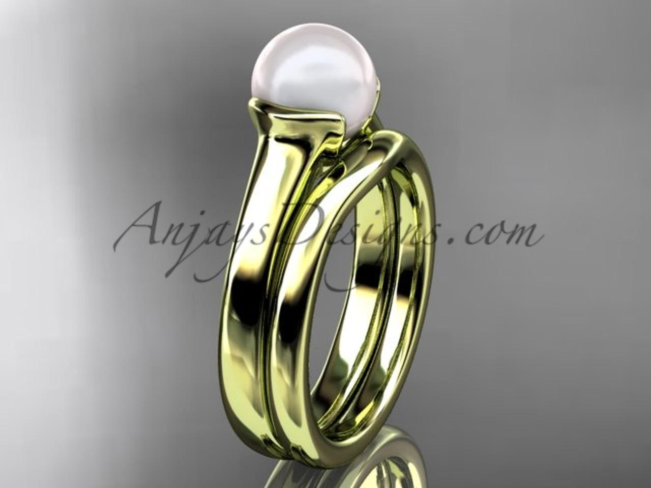 Yellow Gold Vintage Pearl Bridal Ring Set Vp10016s