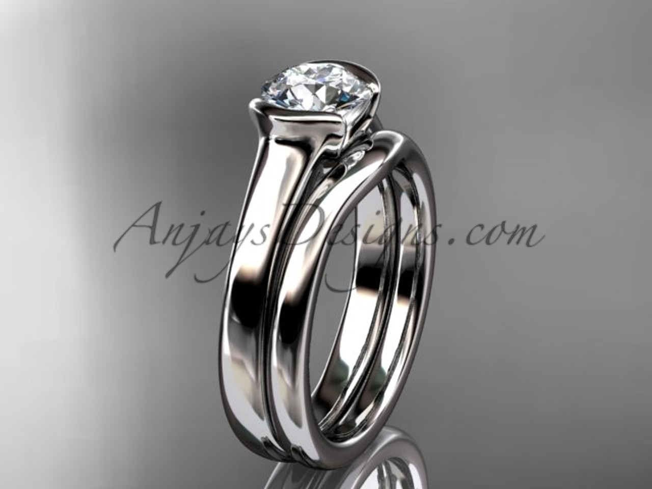 Simple Wedding Ring Sets White Gold Moissanite Ring VD10016S