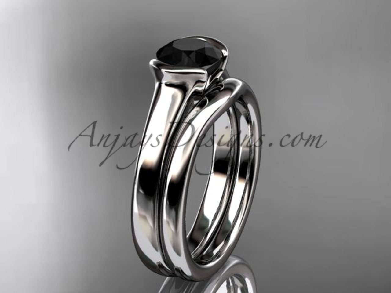 Vintage Wedding Sets White Gold Black Diamond Ring Vd10016s