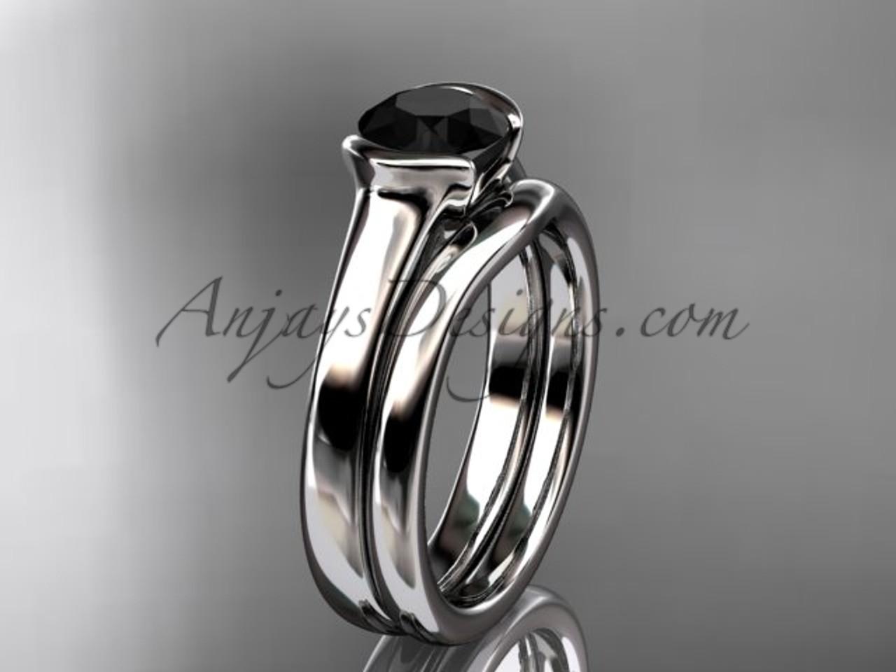 Vintage Wedding Sets Platinum Black Diamond Ring VD10016S