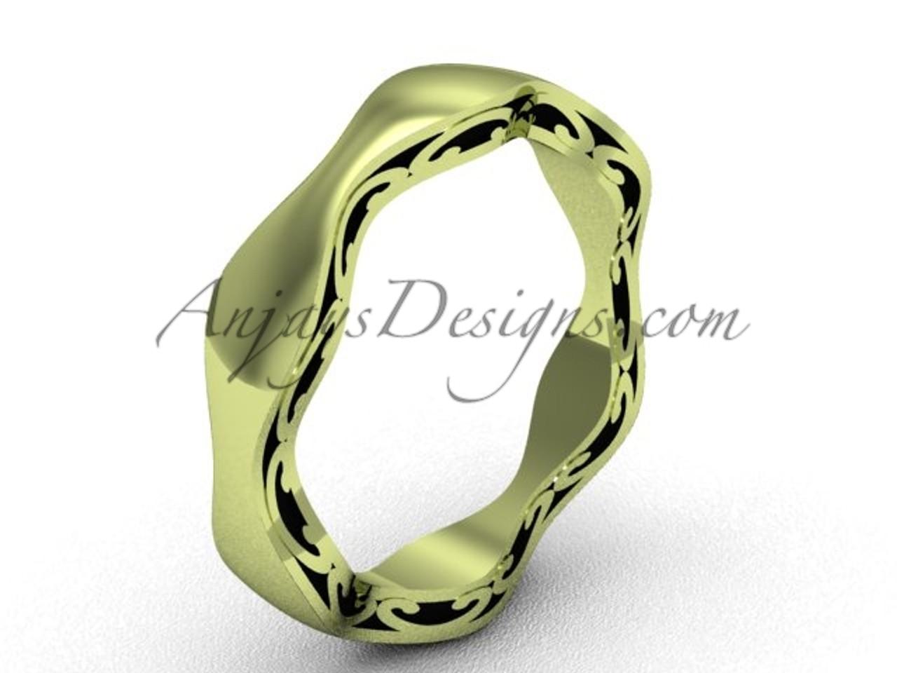 Yellow Gold Unique Wedding Band Swirl Bridal Ring Sgt619