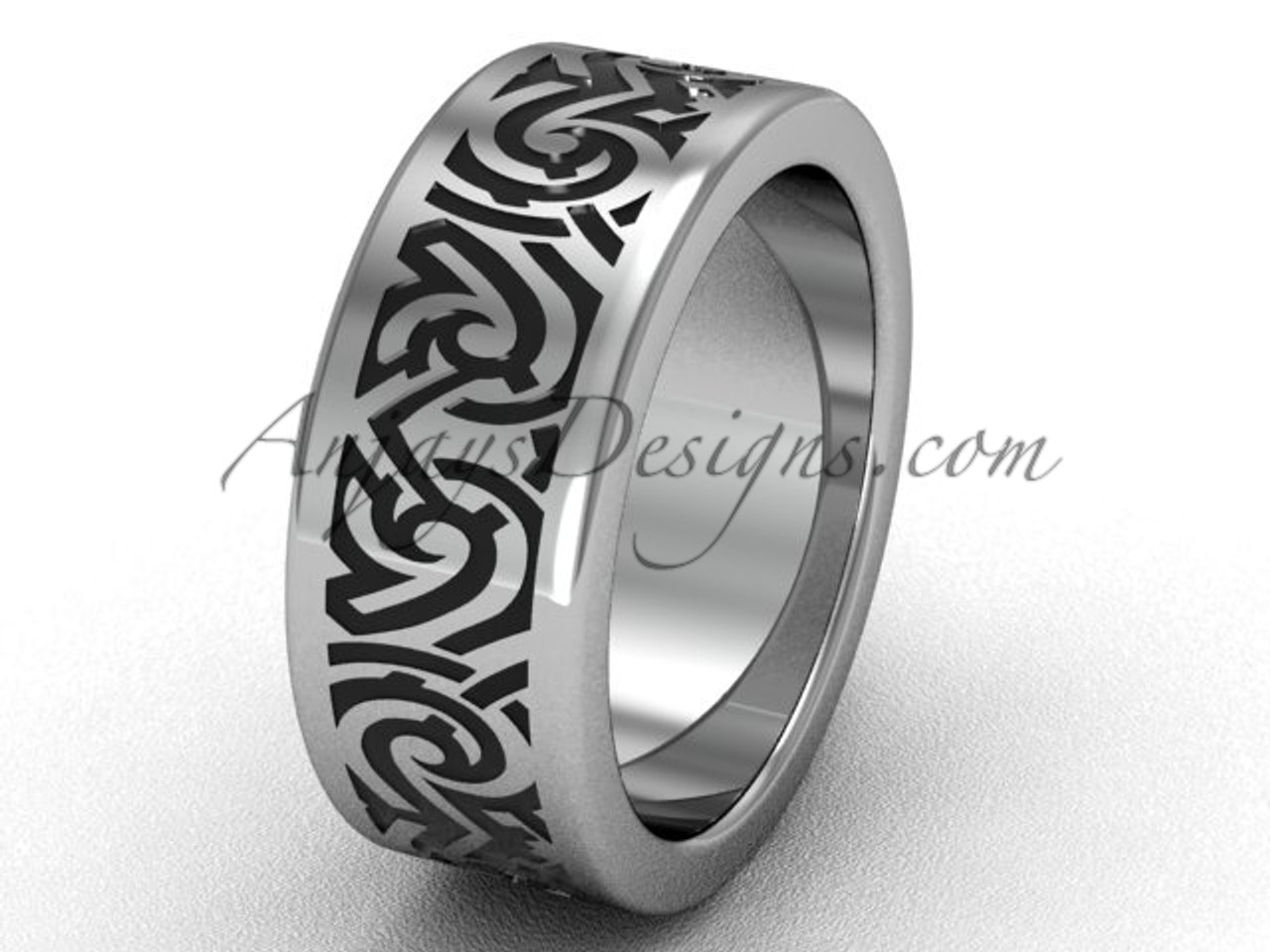 White Gold Unique Wedding Band For Men Sgt646g