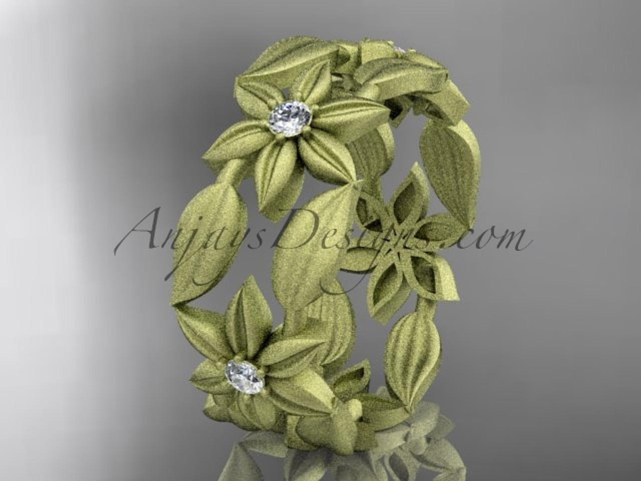 14kt yellow gold diamond leaf and vine flower wedding ring