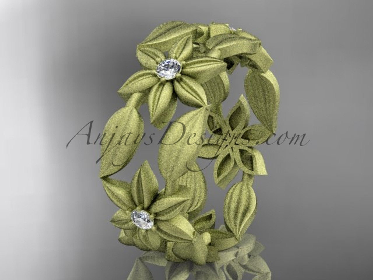 14kt yellow gold diamond leaf and vine flower wedding ring