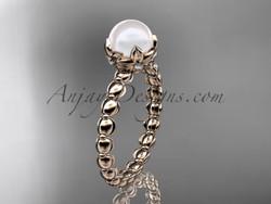 Simple Engagement Rings Pearl Rose Gold Flower Ring Ap522