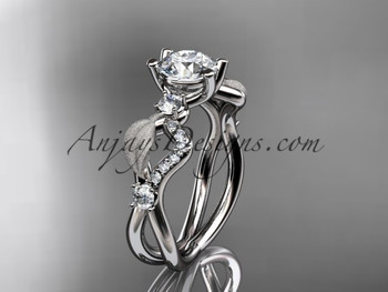 Platinum Diamond Leaf And Vine Wedding Ring Engagement Ring