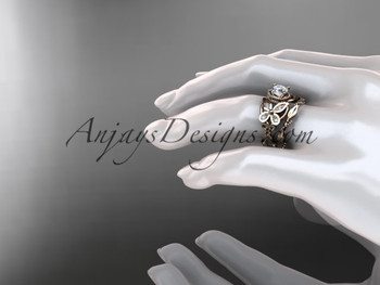 14kt rose gold diamond celtic trinity knot wedding ring butterfly