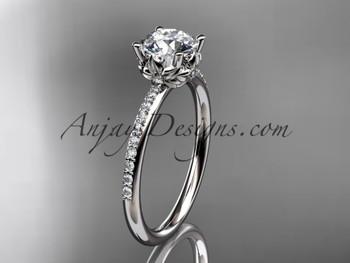 Platinum Diamond Floral Wedding Ring Engagement Ring