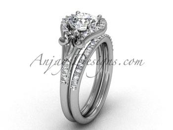 Platinum diamond Fleur de Liswedding band eternity engagement ring