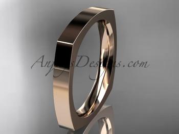 14k Rose Gold Square Wedding Band 3mm Wb50603g